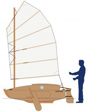 River and lake minimalist sailing Scow PDR