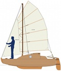 cruising sailing scow in plywood