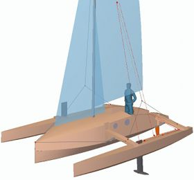 plywood trimaran with carbon foils